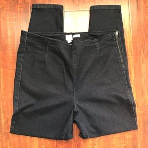A new day side zip blue denim jeggings/ size: 14